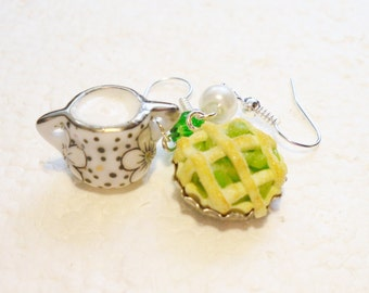 Apple Pie And Cream Earrings. Polymer clay.