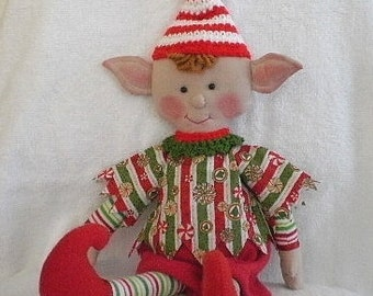 CHRISTMAS ELF Doll Decoration with red and white stripe hat with pompom