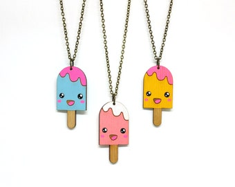 Cute Popsicle Necklace - Handmade - laser cut - laser cut jewelry