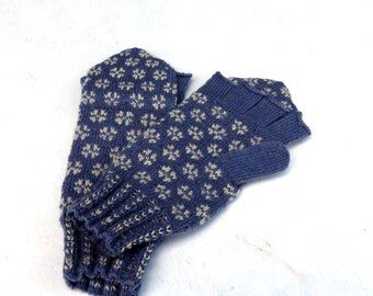 hand knitted convertible mittens, hand knitted convertible gloves, knitted wool mittens, fire isle mittens, gray white convertible mittens,