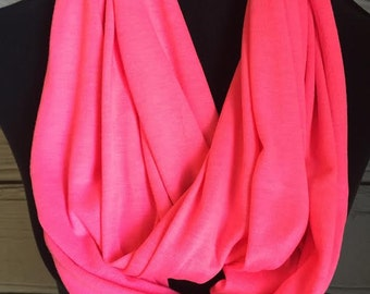 New Hot Neon Pink Stretch Knit Infinity Scarf