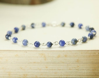 Sodalite Gemstone Bracelet - Sterling Silver Wire Wrapped Blue Simple Delicate - Intuition, Meditation, Transformation, Healing