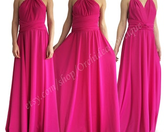 ORCHIDEA Convertible maxi dress Infinity Wrap Chameleon fuchsia bridesmaids dress plus size maternity