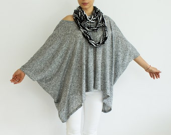 Loose tunic, sweater, off shoulder blouse, grey oversized tunic, plus size tunic top, batwing top, fall fashion, unisex tunic BASIC