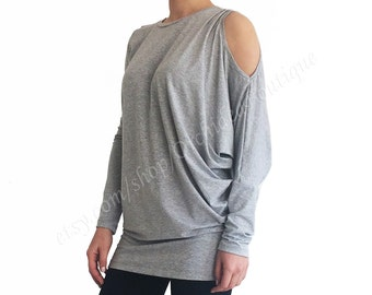 COLD SHOULDER Asymmetric Long Sleeve Top Draped Shoulder Cut Out Detail Tunic Round Neck Dolman Sleeve Boho casual blouse