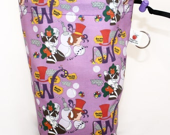 Willy Wonka Project Bag for Knitting, Spinning, Crochet, Cord Lock, Supply Clip