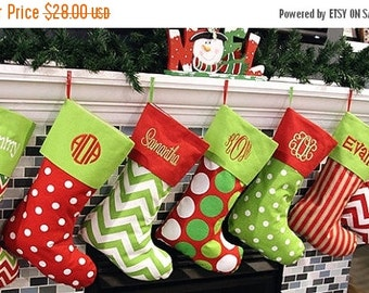 SALE Christmas Stocking Christmas Stockings Monogrammed Christmas Stockings Personalized Christmas Stocking - Choose from 16 Patterns
