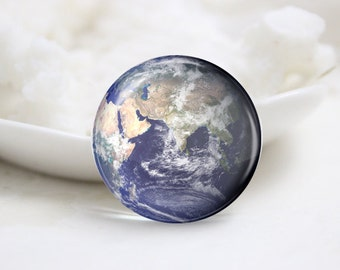 Handmade Round Earth Photo Glass Cabochons (P3635)