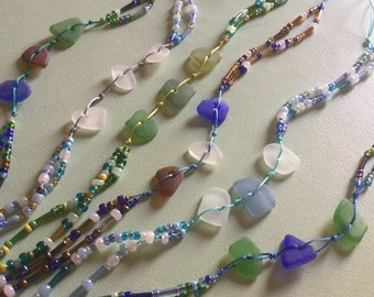 Sea Glass Beaded Ankle Bracelets