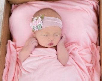 Light Pink Newborn Headband, Baby Girl Headband, Light Pink and Mint Green Baby Girl Headband, Rose Headband,  Photo Prop, Flower Headband