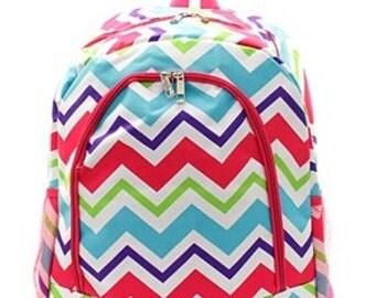 Monogrammed Multi Color Bookbag - Monogrammed Backpack - Back to School