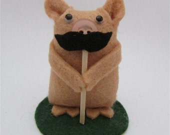Marlon the Moustache Pig - Felt Pig Gift - Pig Cake Topper