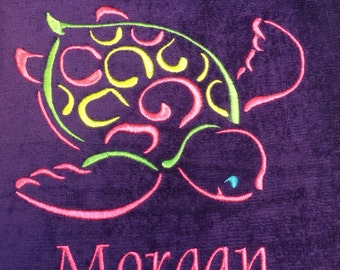 personalized, purple beach towels, towels for kids and adults, sea turtle, starfish, crab, monogram, beach towel, pool towel,