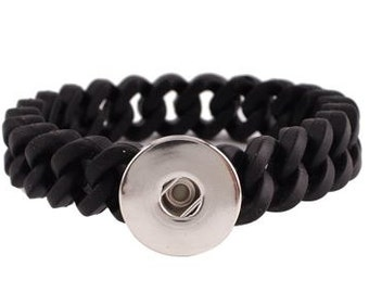 ArtSnapz Snap Black Silicone Bracelet - Compatible with GingerSnaps - DIY Snaps - Noosa Snap Jewelry 18mm Snaps- Oh Snap - Gifts for her