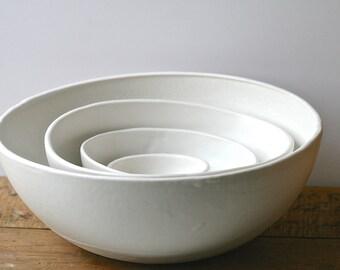 White nesting bowls set, handmade, salad bowls satin white glaze organic rustic
