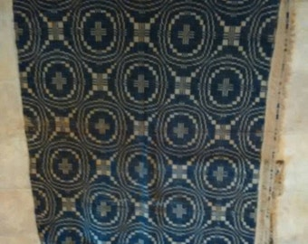 Antique blue woven coverlet
