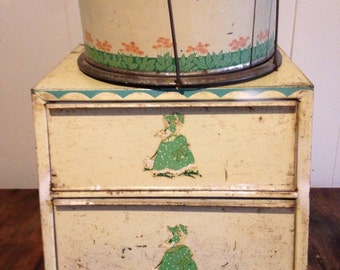 Vintage Metal Bread Box and cake carrier