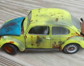 Scale Model Car,Classicwrecks,Rat Rod,VW Bug,Rusted Wreck