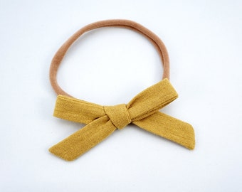Linen Mustard Schoolgirl Bow or Nylon Headband Hand Tied Bow
