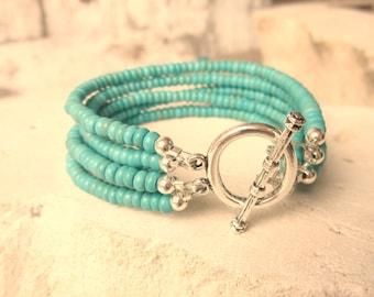 Multi Strand Turquoise Bracelet. Six Strand Bracelet. Green Turquoise Chunky Bracelet. Turquoise Jewelry.Turquoise Boho Jewelry