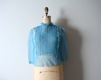 1950s blouse . vintage 50s blue sheer top