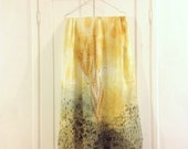 Scarf, Gold, Made in Italy, wearable art, yellow, 90 modal 10 cachemere, gift for her, spring finds, watercolor art