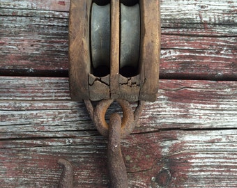 "Vintage 10"" Double Pulley Wood and Metal Industrial Farm Decor"