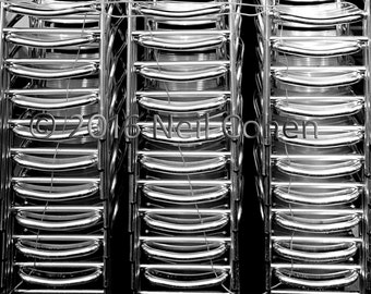 Stacked Chairs at a Chicago Restaurant fine art black and white inkjet photograph