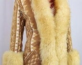 Vintage 1970's Almost Famous Aztec Southwestern  Stamped Shearling Sheepskin Princess Hippie Boho Coat