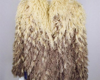 Vintage 1980's I.Magnin Chubby Tibetan Mongolian Curly Lamb Fur Jacket Ombre Boho Hippie
