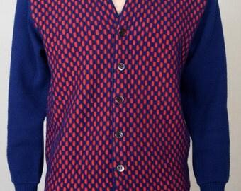 Vintage 1950's Men's McBriar Sportswear Space Age MOD Beatnik OPTIC Cardigan HiPsTeR Sweater Size S
