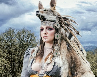 Coyote Shaman Feather Headdress - Sacred Art - Sacred Headdress