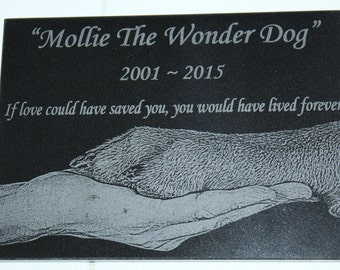 5x7 Black Granite Pet Memorial Stone Plaque Laser Engraved Personalized with Picture