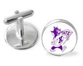Sporty gift,Kansas State Willie Wildcat tie clip, cuff links or gift set. Kansas State Wildcats tie slide, Kansas sports, college sports