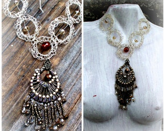 handmade wire necklace,shabby style