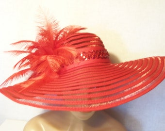 Red Feathered Hat - Wide Brim Red Hat - Kentucky Derby Hat, Garden Party Hat or Tea Party