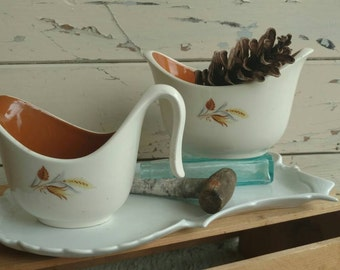 Vintage Wheat Art Pottery Serving Ware - Sugar + Creamer Set - Mid Century Coffee or Tea Accessories, Holiday Meals, Home or Kitchen Decor