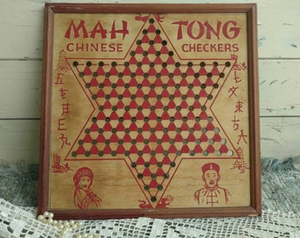 Antique Mah Tong Game Board - Vintage Primitive Game, Wall Art, Boys Room Decor, Bar Wall Art, Shabby Chic Wooden Game Boards + Wall Decor