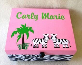 Keepsake Box- Medium Keepsake Box- Memory Box - Zebra Keepsake Box - Pink and Green - Zebra Print - Personalized - Gift