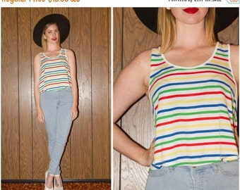 SALE Vintage 80s 90s Preppy Clueless Blue Yellow Red Green Primary Color Geometric Stripe Crop Top Tank Oversize Beach Top S M L