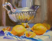 Art Print of Original painting of LEMONS, yellow and blue, Classic still life, Delft porcelain, iceberg roses, oil on canvas, painting, art