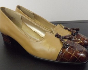 Vintage Beige and Brown Faux Snake Skin Granny Shoes