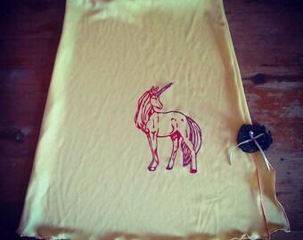 SALE Unique screen printed vintage upcycled unicorn skirt boho