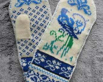 Norwegian Scandinavian hand crafted 100% Wool Mittens, folk art, Fair Isle, Bird