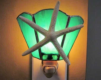 Teal and White Starfish Night Light - Handcrafted Authentic Stained Glass - Authentic Pencil Starfish - Wide Fan Design, Nautical, Beachy