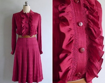 20% CNY SALE - Vintage 80's 'Lady In Red' Ruffled Textured Silky Polyester Shirt Dress S or M