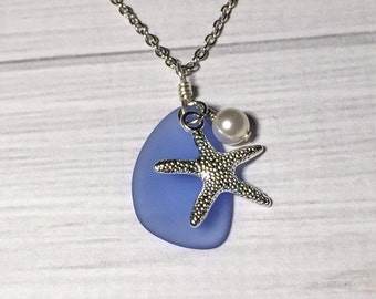 SALE...Blue Sea Glass Necklace Christmas Gift Women's Necklace Starfish Necklace Sapphire Mom Girlfriend Sister