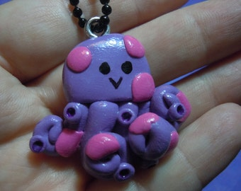 Kawaii Octopus Pendant, Polymer Clay Octopus Necklace, Polymer Clay Charm