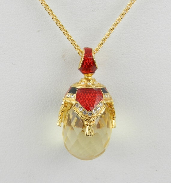 "18K Yellow Gold over Sterling Silver Red Enamel and Lemon Quartz Swarovski Crystal Pendant with Chain 18"" Faberge Style Egg"