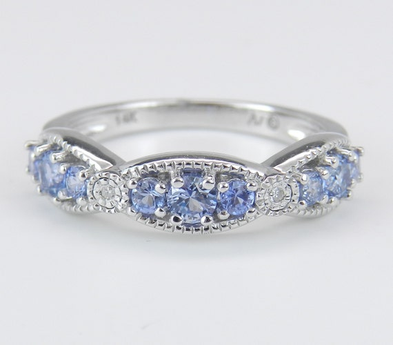 Diamond and Tanzanite Wedding Ring Anniversary Band Stackable 14K White Gold Size 7
